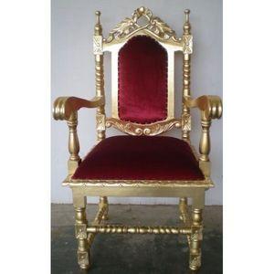 DECO PRIVE - fauteuil trone dore et velours rouge - Fauteuil D'apparat