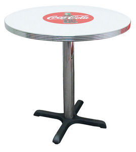 US Connection - table de cuisine coca cola 76 cm ronde - Table Bistrot