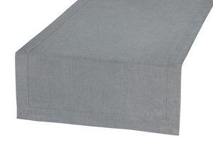 BLANC CERISE - vis-�-vis gris - lin d�perlant - bicolore, brod� - Chemin De Table