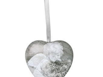 Mathilde M - cur d�coratif ange aux fleurs - Coeur