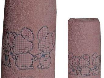 SIRETEX - SENSEI - carré de bain 100x100cm éponge brodée 3 souris ros - Serviette De Toilette Enfant