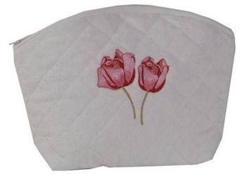 SIRETEX - SENSEI - trousse eponge brodé rose duo 420g/m² - Trousse De Toilette
