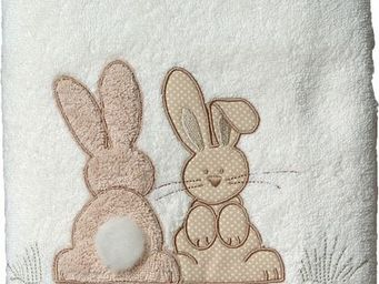 SIRETEX - SENSEI - drap douche 70x140cm pompon le lapin - Drap De Bain Enfant