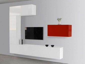 ACHATDESIGN - meuble tv mural romance rouge - Meuble De Salon Living