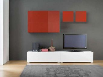 ACHATDESIGN - meuble tv mural tango rouge - Meuble De Salon Living