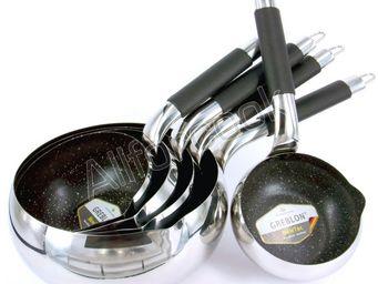 SCHUMANN PROFESSIONNEL - 5 casseroles pomme manche noir 12, 14, 16, 18 & 20 - Casserole