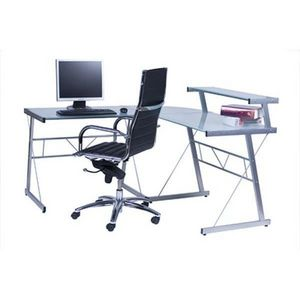 KOKOON DESIGN - bureau d'angle verre transparent - Meuble Ordinateur