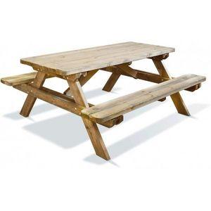 JARDIPOLYS - table de jardin avec assise 6 personnes en bois ro - Table Pique Nique