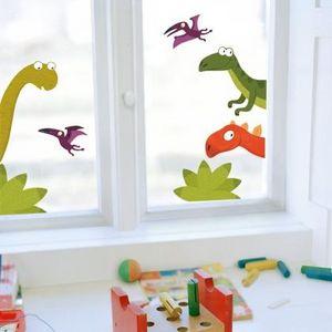 Nouvelles Images - sticker fenêtre famille dino - Sticker