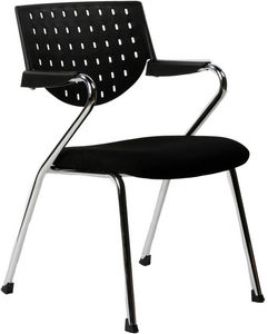 KOKOON DESIGN - fauteuil de bureau noir avec accoudoirs en fabric  - Fauteuil D'accueil