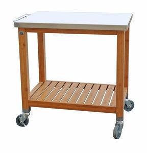 DM CREATION - desserte plancha en bambou et inox 80x50x83,5cm - Table Roulante De Jardin
