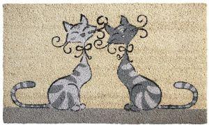 Aubry-Gaspard - paillasson chats amoureux en coco et latex 75x45cm - Paillasson