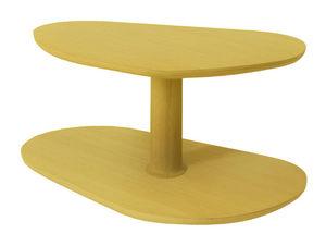 MARCEL BY - table basse rounded en chêne jaune citron 72x46x35 - Table Basse Forme Originale