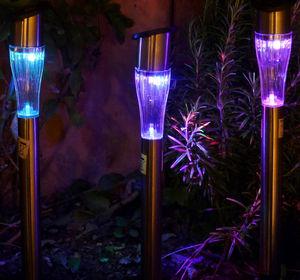FEERIE SOLAIRE - borne solaire design multicolore en m�tal 29cm - Photophore Pique Jardin