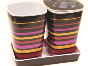 Cm - pot salle de bain multicolore - Porte Brosses � Dents