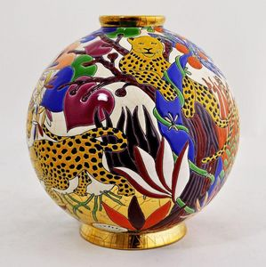 Emaux de Longwy 1798 - guépards - Boule Décorative