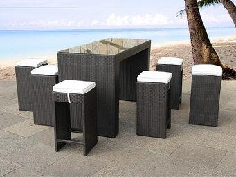 BELIANI - table de bar en osier avec 6 chaises verona - Salle À Manger De Jardin