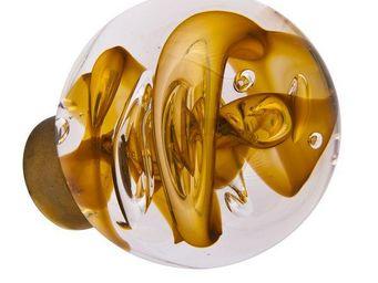 Les Verreries De Brehat - tubes de bulles sphérique jaune topaze - Bouton De Porte