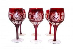 Demeure et Jardin - set de 6 verres rouges - Verre � Pied