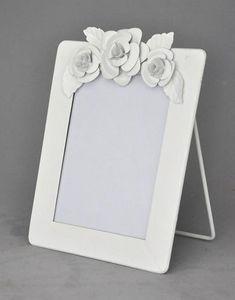 Demeure et Jardin - cadre blanc vertical � fleurs - Cadre Photo