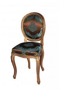 Demeure et Jardin - chaise transition dorée damas chocolat turquoise - Chaise Médaillon