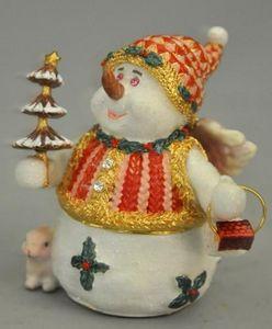 Demeure et Jardin - boite bonhomme de neige en epoxy - D�coration De No�l