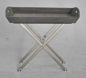 Demeure et Jardin - petite table d'appoint bois gris pi�tement inox - Plateau Sur Pied