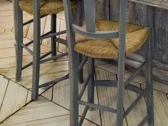 PROVENCE ET FILS - chaise cantina/ assise paill�e h. assise 60cm pour - Chaise Haute De Bar