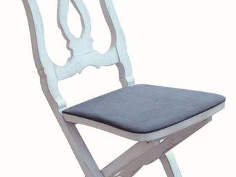 PROVENCE ET FILS - chaise gustavienne / assise bois pliante avec remb - Chaise Pliante