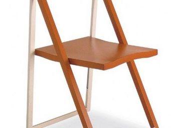Calligaris - chaise pliante skip merisier et aluminium satin� d - Chaise Pliante