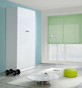 WHITE LABEL - armoire lit kubic blanc mat, couchage 140 * 18 * 1 - Lit Escamotable