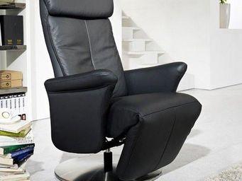 WHITE LABEL - adam fauteuil relax, cuir vachette noir - Fauteuil De Relaxation