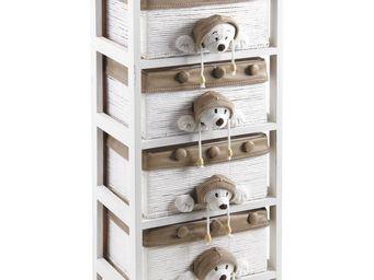 Aubry-Gaspard - commode enfant en bois blanc - Meuble De Rangement Bas Enfant