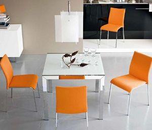 Calligaris - table repas extensible key 90x89 en verre blanc et - Table De Repas Carrée