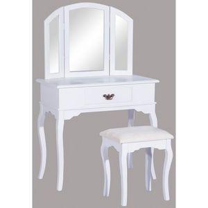 WHITE LABEL - coiffeuse bois avec grand miroir et tabouret table maquillage blanc - Coiffeuse
