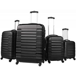 WHITE LABEL - lot de 4 valises bagage abs noir - Valise À Roulettes