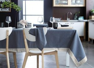 BLANC CERISE - delices de metis gris lin - Nappe Rectangulaire