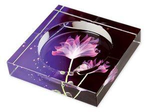 WHITE LABEL - cendrier en verre impression fleurs de lotus color - Cendrier