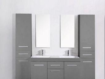UsiRama.com - meuble salle de bain 2 vasques think gris 1.3m - Meuble Double Vasque