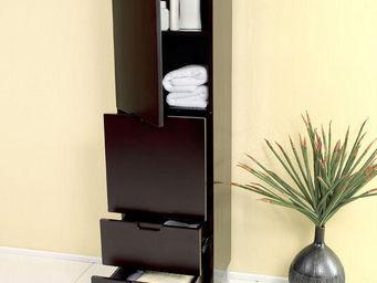 UsiRama.com - colonne de salle de bain design pas cher 1.5m noir - Colonne De Rangement Simple De Salle De Bains