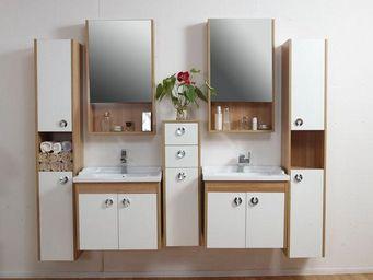 UsiRama.com - meuble salle de bain mélaminé beige pain - Meuble Double Vasque
