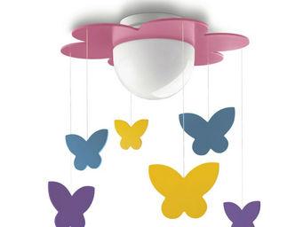 Philips - meria - plafonnier fleur rose et papillons suspend - Suspension Enfant