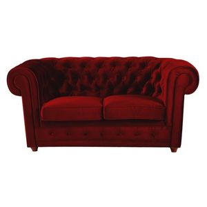 DECO PRIVE - canap� chesterfield 2 places en velours rouge - Canap� Chesterfield