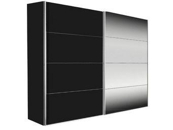 WHITE LABEL - dressing kick 202cm en melaminé noir mat et miroir - Armoire À Portes Coulissantes