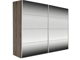 WHITE LABEL - dressing kick 202cm miroir et cadre chene fonce av - Armoire � Portes Coulissantes