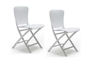 WHITE LABEL - lot de 2 chaises pliante zak design blanc - Chaise Pliante