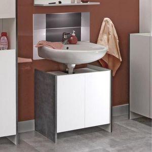 WHITE LABEL - meuble sous-vasque dova design effet béton 2 porte - Meuble Sous Vasque