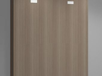 WHITE LABEL - armoire lit verticale agata noyer couchage 160*200 - Lit Escamotable