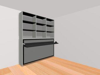 WHITE LABEL - armoire lit transversale ares avec bureau intégré. - Lit Escamotable