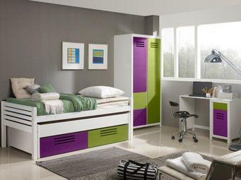 WHITE LABEL - lit gigogne double marlone violet et vert avec 2 t - Lits Gigognes